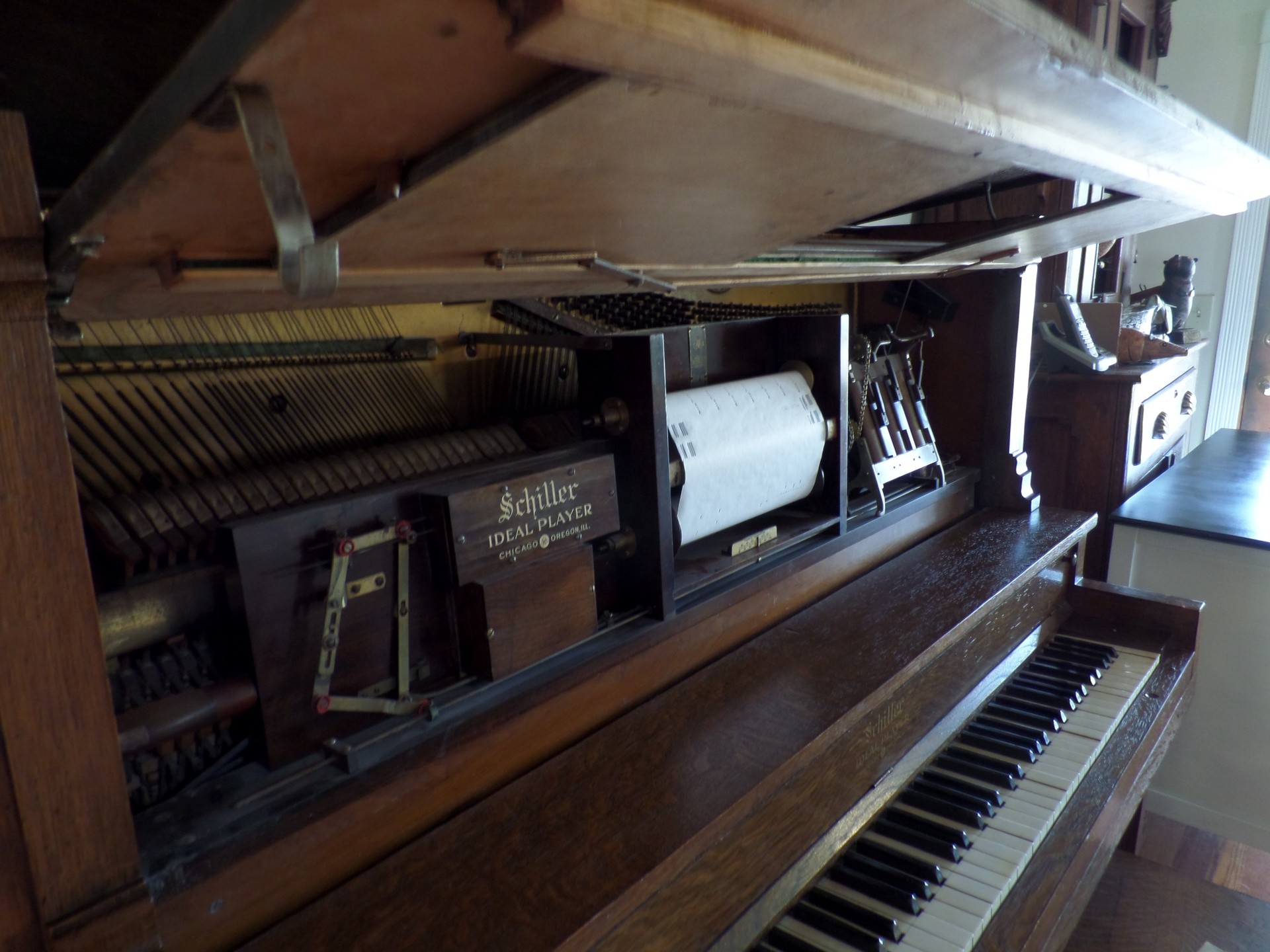 Inside of player piano